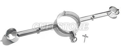 Stainless Steel Straight Bar Neck Collar Wrist Restraints, Lockable,spreader Bar