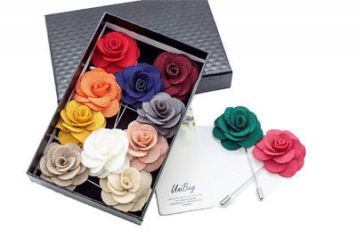 Mens Lapel Pin Set Handmade Flower Boutonniere For Suit Accessories 12 Pieces