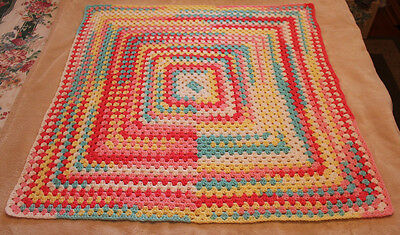 "Stunning Multi-Colored Crocheted Square Baby Blanket 33"" X 33"""