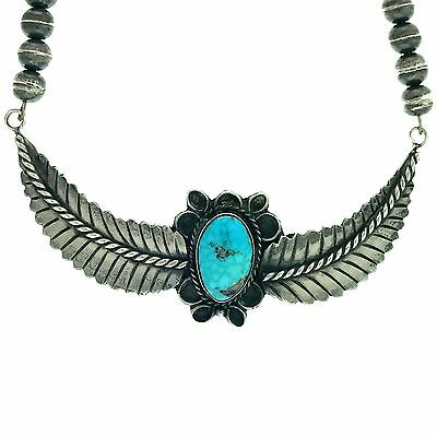Native American Navajo Sterling Silver Natural Turquoise Wings Necklace