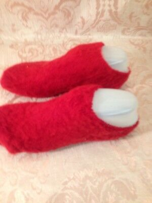 VTG BRUSHED Booties Downy FUZZY soft RED ORLON Puffs Socks USA