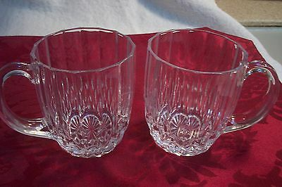 2 Cristal d' Arques Bretagne Crystal Coffee Mugs, excellent, no chips or cracks