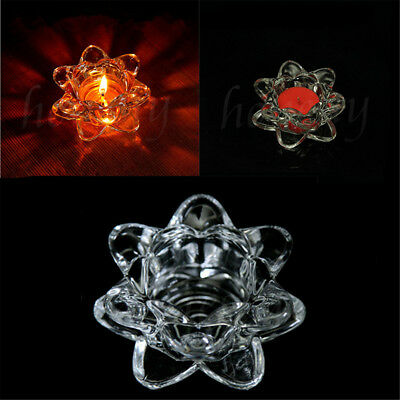 Lotus Shape Glass Tealight Tea Light Candle Holder Wedding Table Party Decor