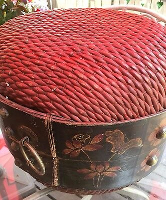 Beautiful hand painted extra large Chinese wedding basket with hardware