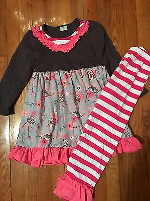 New Girls Size 6/7 Boutique Style Dress & Leggings Grey Pink Floral Striped