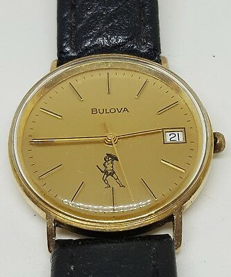 Brilliant BULOVA gents 1970s 9ct solid gold watch with leather Strap