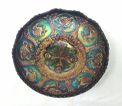 HTF Mint Fenton Glass Dragon & Lotus Royal Blue Carnival Footed Cupped Bowl