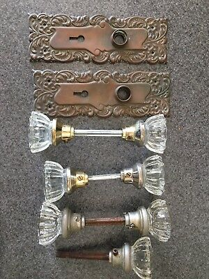 VINTAGE GLASS DOOR KNOBS LOT OF 7 With 2 Backing Plates