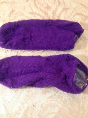 VTG BRUSHED Booties Downy FUZZY soft Purple ORLON Puffs Socks USA