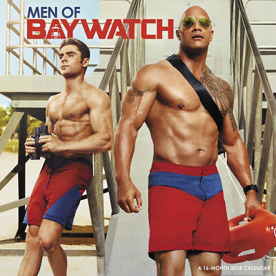 Men of Baywatch Movie 16 Month 2018 Photo Wall Calendar NEW SEALED
