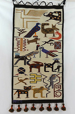 Vtg Jose C. Cotacachi Wool Wall Hanging Tapestry Decor Animals Birds Ecuador