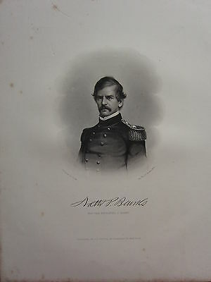 1863 Original American Civil War Print & Biog Major-General Nathanie P. Banks