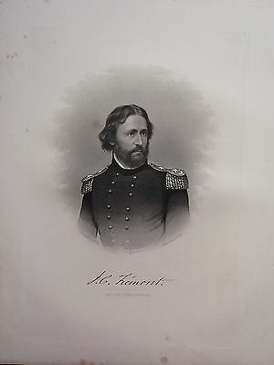 1863 Original American Civil War Print & Biog Major-General John C. Fremont