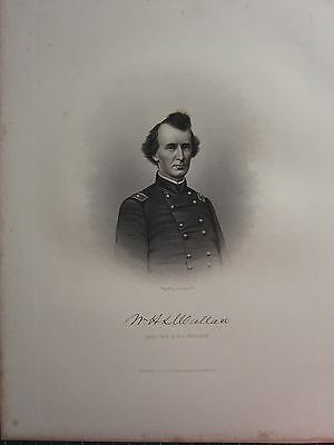 1863 Original American Civil War Print & Biog Brigadier-General William Wallace