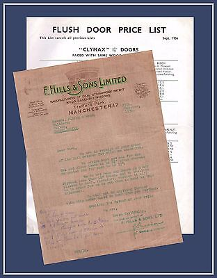 1936 Trade Price List F Hills & Sons Trafford Park Manchester Architecture Doors