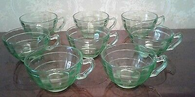 Anchor Hocking Block Optic Green Knob On Handle Cups