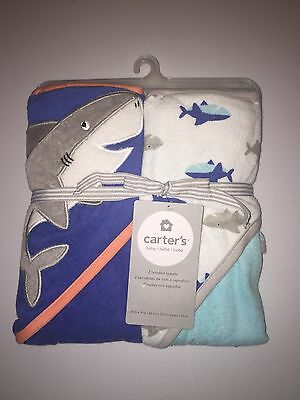 New 2 pc Carter's Shark Hooded Towel Set Blue