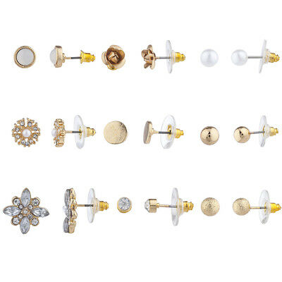 Lux Accessories Gold Tone White Opal Faux Pearl Floral Multiple Earring Set 9PC