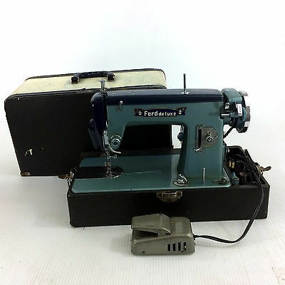 Vintage Sewing Machine Pedal & Case Antique 1950s Ford Blue Domestic Japan Made