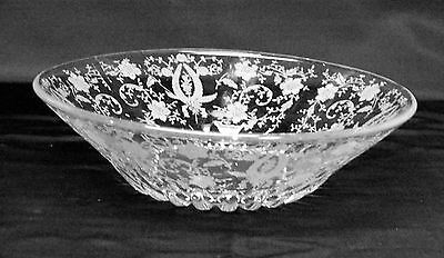 New Martinsville Glass Prelude Etched Deep Flared Bowl