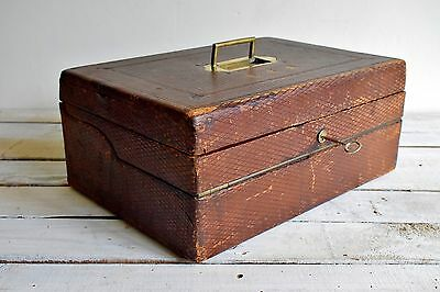 Antique Lap Desk Victorian Military Campaign Writing Box Registered Maker Allen