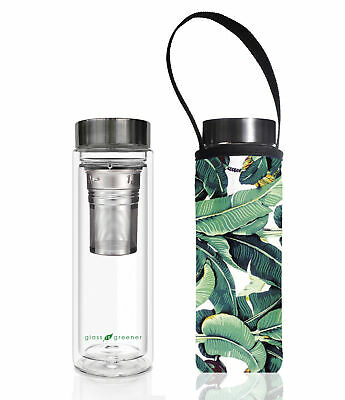 NEW 500ml Glass Is Greener Double Wall Tea Flask & Banana Leaf Carry Pouch