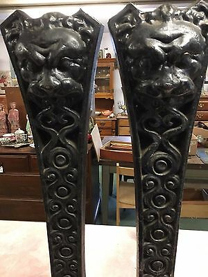Antique Cast Iron Lion Head Andirons-Wellington?