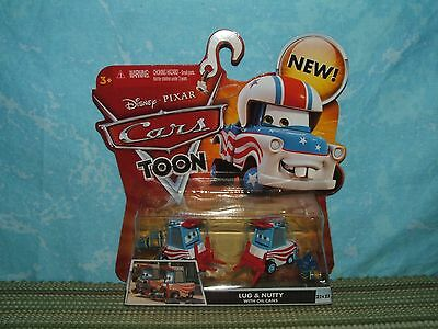 Disney Pixar Cars Toon: LUG & NUTTY with OIL CANS (NIP) MATER the GREATER