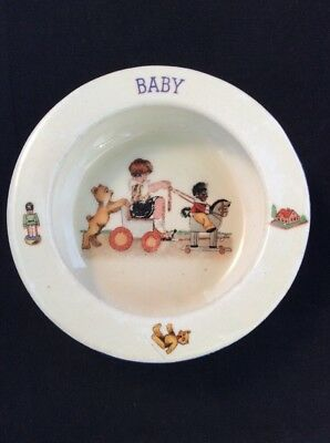 Rare Antique Porcelain Baby Bowl Depicting Child In Cart Made In Czecho Slovakia