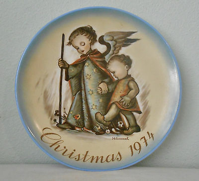 "Hummel Christmas Plate ""The Guardian Angel"" Schmid Bros Germany 1974 Excellent"