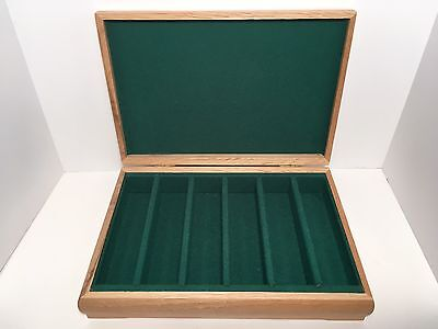 Poker Chip Wood Storage Hinged Box Game Room Card Room Holds 300