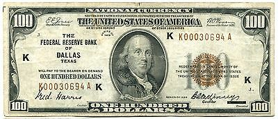 1929 $100 National Bank Currency, Dallas Texas, Federal Reserve Bank. VF