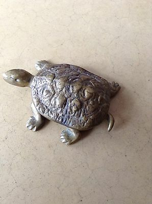 Vintage Brass Turtle Hinged Trinket Box Nice