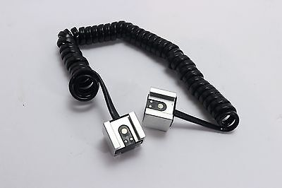 Hot Shoe Sync Cable Extension Cord Fits Canon Off Camera Flash Coiled 48""