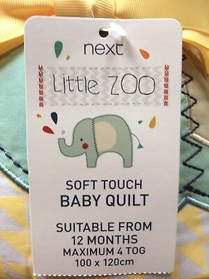 BNWT Next Little Zoo Soft touch Baby Quilt 100X120cm Max 4Tog boys & girls baby