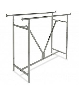 "Commercial Clothing Double Bar H Rack | Adjustable H 48""-72"" w/ V-Brace 