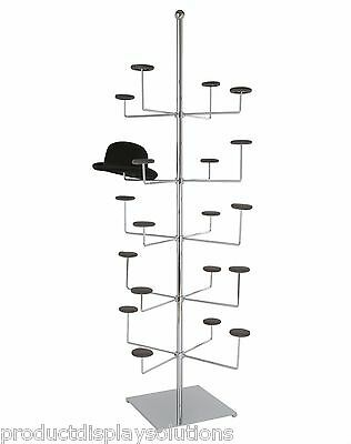 Non-Revolving Free Standing Hat - Cap Display Rack, Holds 20 Hats | Chrome