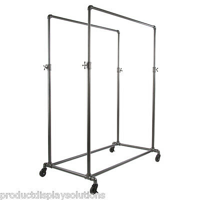 Pipe Pipeline Double Rail Rolling Clothing Display Rack Adj. Height | GREY