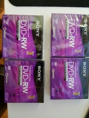 Lot 4 New Sealed Sony Handycam Mini DVD-RW 3 Pack 30min 1.4GB Discs A2