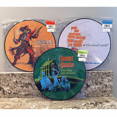 Disney Parks D23 Haunted Mansion/Pirates/Small World Vinyl Record Soundtrack Set