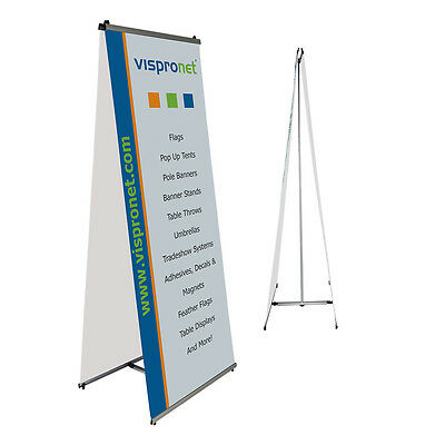 Double-Sided L Banner Stand 2.6' x 6.6' - Trade Show Retail Banner Stand Display