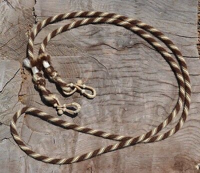 """1/2"""" Mohair Loop/Roping Reins 8 ft.- Chocolate Brown, Tan and White"""
