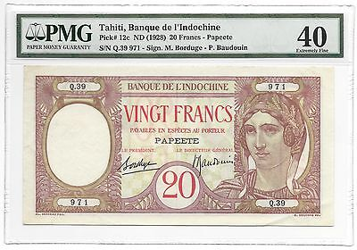 TAHITI Papeete Banque de l'Indochine P-12 Rare Banknote - PMG 40 Extremely Fine