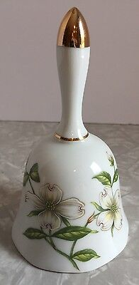 Vintage Japan Lefton China Porcelain Bell White Dogwood Flowers Gild Trim 07816