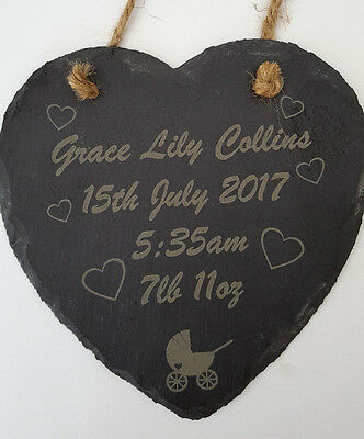 Personalised New Baby Gift Engraved Slate Christening Birth Plaque Boy Girl