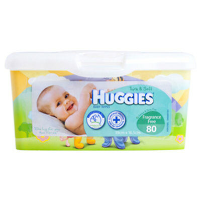 Huggies Baby Wipes Unscented Tub 80 Pack - NEW