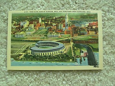 Birds Eye View of Stadium, Mall, and Downtown Cleveland 1950s Vintage Postcard