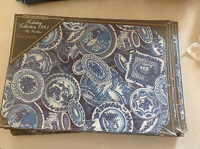 1995 Holiday Limited Edition Paper Placemats by Brookslace Blue Willow/Delf Look