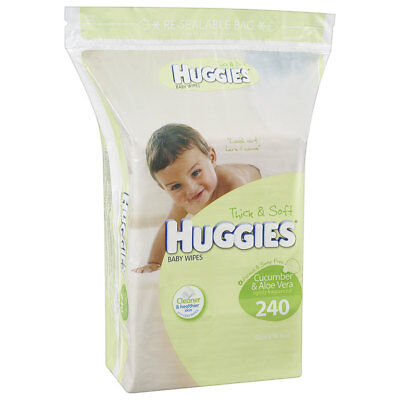 Huggies Cucumber and Aloe Baby Wipes 240 Pack - NEW