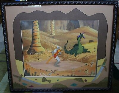 Dragon's Lair original production cels Lizard King and Dirk signed Don Bluth